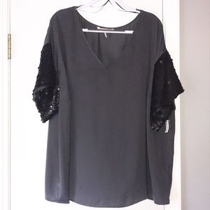 French Connection Blouse w/Sequin Sleeves, Sz 2X